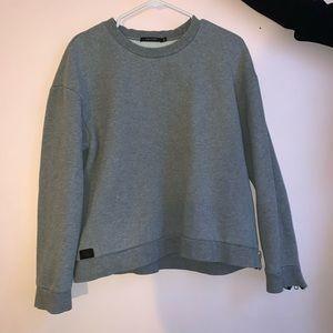 Grey Obey Crewneck Sweatshirt with Zipper Details